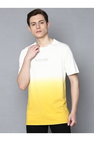 Antony Morato Men Yellow & White Slim Fit Dyed Round Neck T-shirt