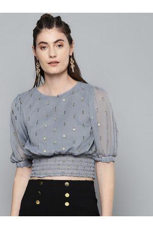 Sassafras Women Grey & Gold-toned Geometric Keyhole Neck Puff Sleeves Smocked Blouson Top