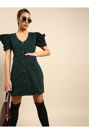 ATHENA Women Green Solid Sheath Dress with Puff Sleeve