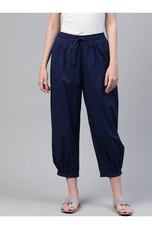 Laado - Pamper Yourself Women Navy Blue Solid Pure Cotton Afghan Salwar