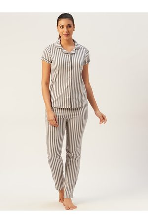 Sweet Dreams Women Peach-Coloured & Charcoal Grey Pure Cotton Striped Night Suit