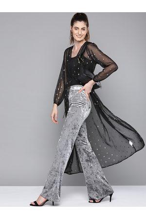 Sassafras Women Black & Silver Self-Design Tie-Up Longline Shrug