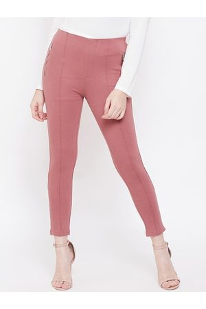 MADAME Women Pink Solid Ankle-Length Treggings