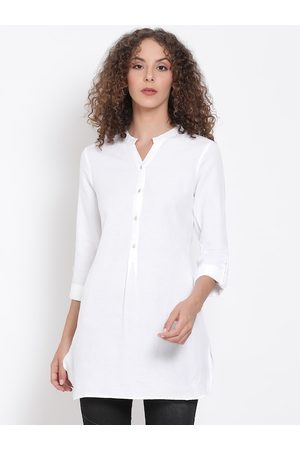 Oxolloxo Women White Solid Tunic