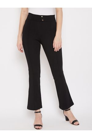 MADAME Women Black Solid Relaxed-Fit Treggings