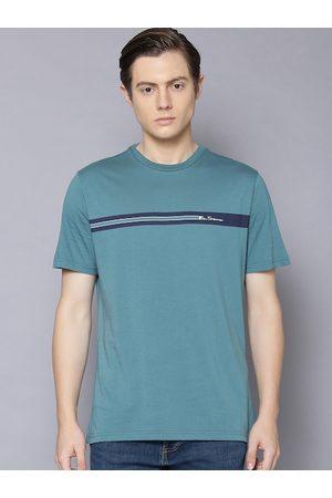 Ben Sherman Men Teal Solid Round Neck T-shirt