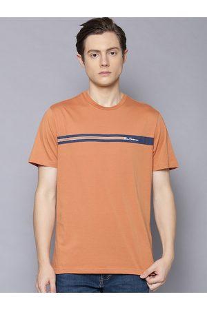 Ben Sherman Men Orange Solid Round Neck T-shirt