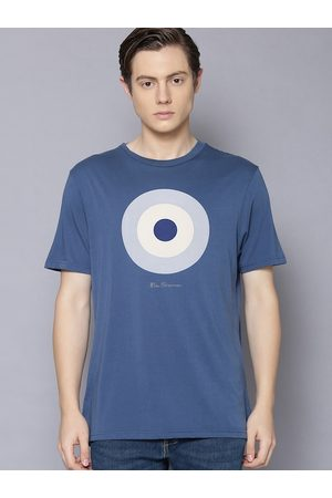 Ben Sherman Men T-shirts - Men Blue Printed Round Neck T-shirt