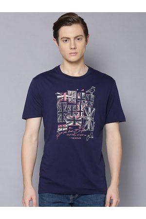 Ben Sherman Men Navy Blue Printed Round Neck T-shirt