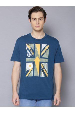 Ben Sherman Men Blue Printed Round Neck T-shirt