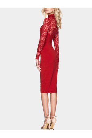 YOINS Red Sexy Long Sleeves Lace Insert Bodycon Midi Dress