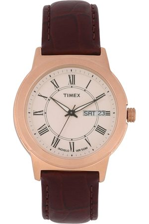Timex Men Brown and Rose Gold Analogue Watch