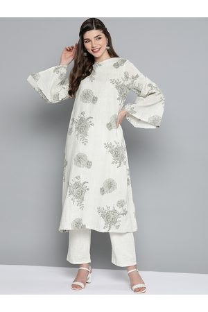 HERE&NOW Women Off-White & Grey Printed Kurta with Trousers