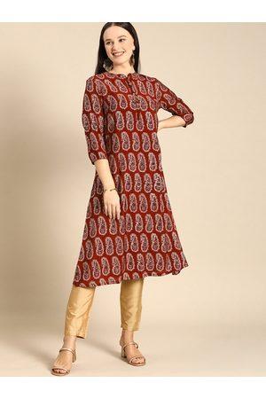 Anouk Women Red & White Printed Kurta with Trousers