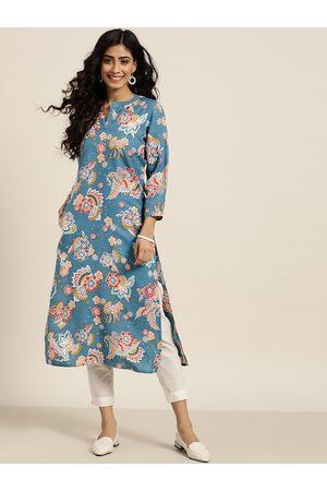 Sangria Women Blue & Off White Floral Printed Cotton Kurta