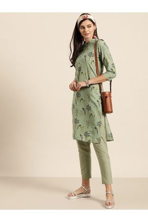 Sangria Women Green & Teal Blue Pure Cotton Printed Kurta with Trousers