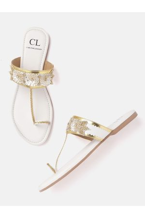 Carlton London Women White & Gold-Toned Embellished One Toe Flats