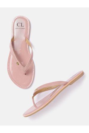 Carlton London Women Pink Solid Patent Finish Open Toe Flats