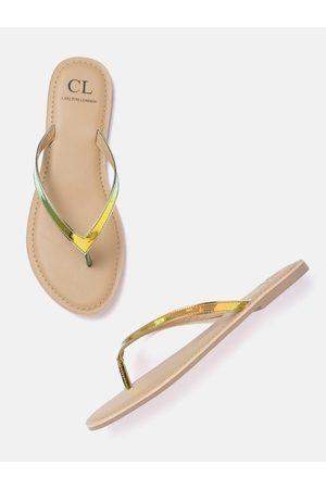 Carlton London Women Gold-Toned & Green Iridescent Effect Solid Open Toe Flats