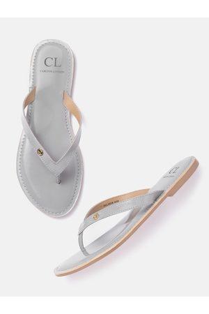Carlton London Women Grey Solid Patent Finish Open Toe Flats