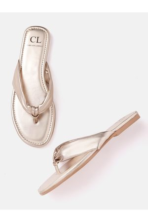 Carlton London Women Gold-Toned Solid Open Toe Flats
