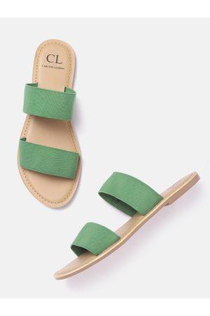 Carlton London Women Green Solid Open Toe Flats