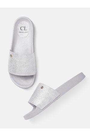 Carlton London Women Silver-Toned Textured Open Toe Flats
