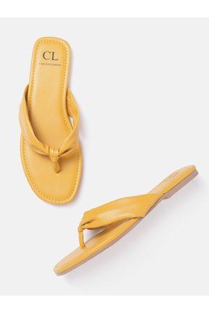 Carlton London Women Mustard Yellow Solid Open Toe Flats