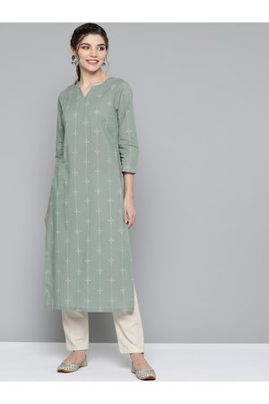 HERE&NOW Women Green & Cream-Coloured Pure Cotton Ethnic Motifs Printed Kurta
