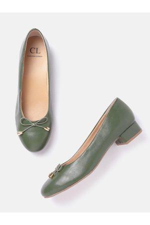 Carlton London Women Olive Green Solid Ballerinas