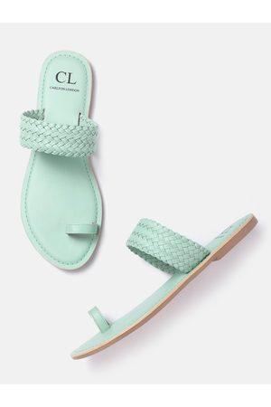 Carlton London Women Mint Green Basketweave One Toe Flats
