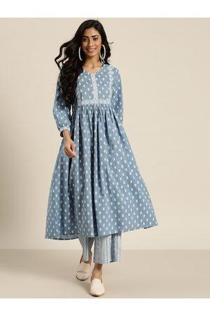 Sangria Women Blue & White Printed Pure Cotton Kurta with Palazzos