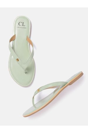 Carlton London Women Green Solid Patent Finish Open Toe Flats