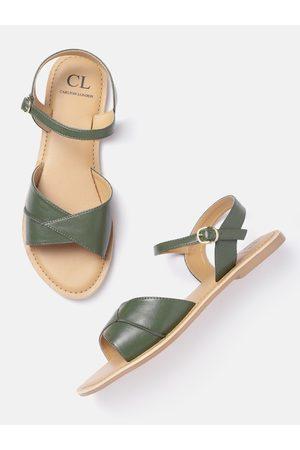 Carlton London Women Olive Green Solid Open Toe Flats
