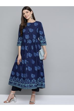 HERE&NOW Women Navy Blue Pure Cotton Ethnic Motifs Printed A-Line Kurta