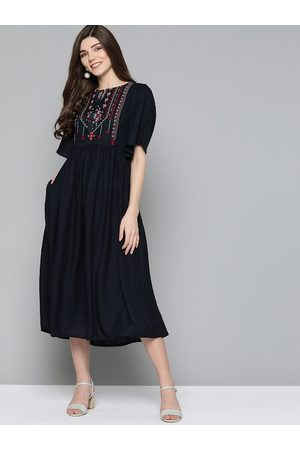 HERE&NOW Women Navy Blue Solid A-Line Dress with Embroidered Detail