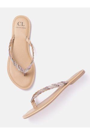 Carlton London Women Beige & Pink Embellished Open Toe Flats