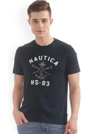 Nautica Men Blue Printed Round Neck Slim Fit T-shirt