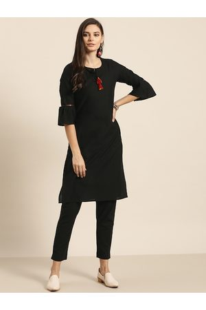 Sangria Women Black Pure Cotton Solid Kurta with Trousers