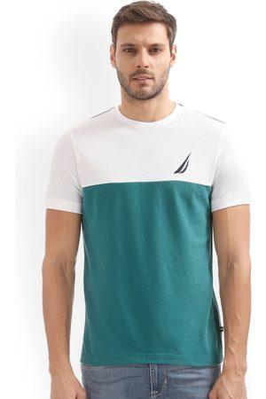 Nautica Men Teal Colourblocked Round Neck Slim Fit T-shirt