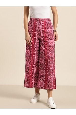 Sangria Women Pink & Maroon Pure Cotton Printed Cropped Palazzos