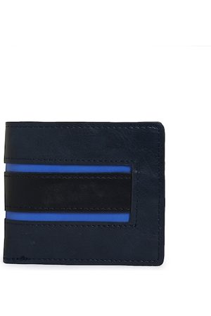Aldo Men Navy Blue & Black Solid Two Fold Wallet