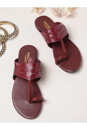 Anouk Women Flats - Women Maroon Braided One Toe Flats
