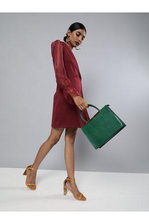 Sassafras Women Burgundy Solid Blazer Dress
