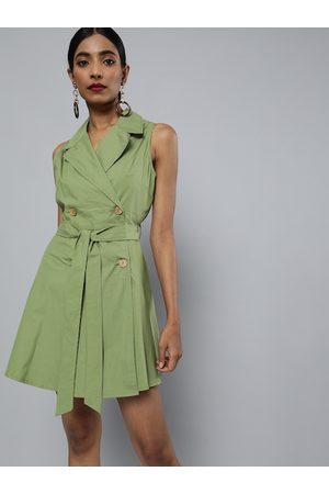 Sassafras Women Olive Green Solid Blazer Dress