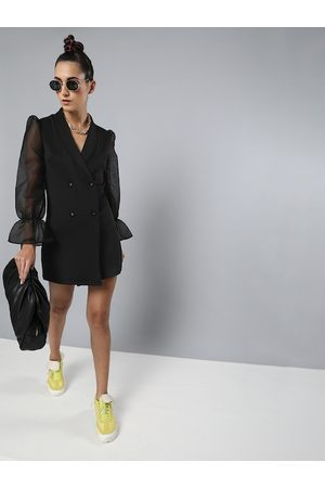Sassafras Women Black Solid Blazer Dress