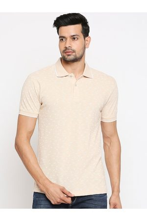 Mufti Men Beige Self Design Polo Collar T-shirt