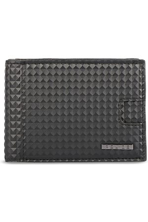 Police Men Black Textured Two Fold Leather Wallet