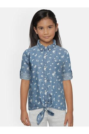 Lee Cooper Women Blue Floral Printed Indigo Shirt Style Crop Top