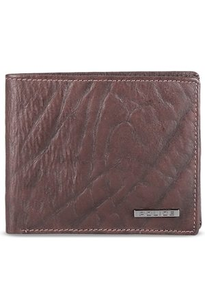 Police Men Brown Textured Leather Two Fold Wallet
